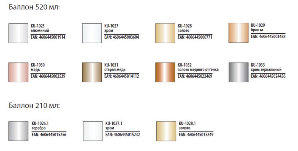 Аэрозольные краски KUDO металлик, цветовая палитра